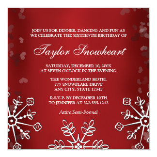 RED SNOWFLAKE SWEET SIXTEEN BIRTHDAY 5.25X5.25 SQUARE PAPER INVITATION CARD