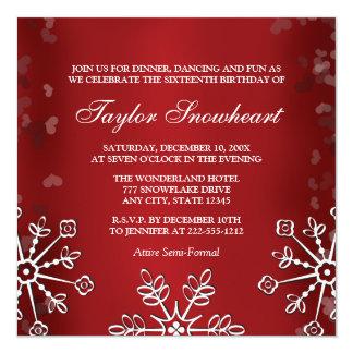 RED SNOWFLAKE SWEET SIXTEEN BIRTHDAY 13 CM X 13 CM SQUARE INVITATION CARD