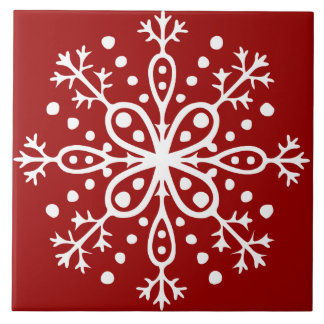 Red Snowflake Tile