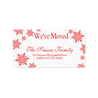 "red Snowflake ""we've moved"" Christmas label Address Label"
