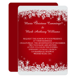 Red Snowflake Winter Wedding Invitation