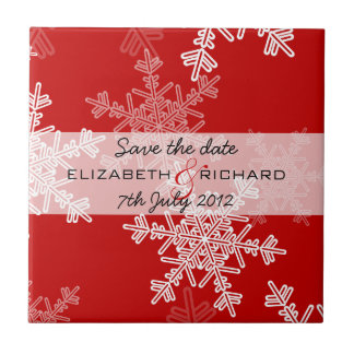 Red Snowflakes Christmas Save the date Tile