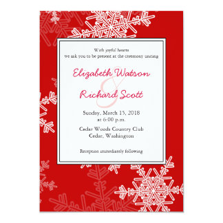 Red Snowflakes Christmas wedding invitation