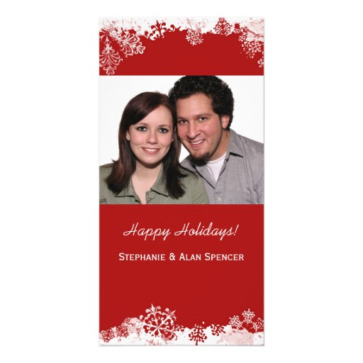 Red Snowflakes Holiday Photo Cards