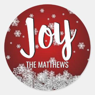 RED Snowflakes JOY Holiday Christmas Xmas Classic Round Sticker