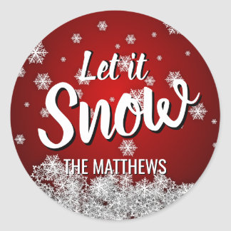RED Snowflakes LET IT SNOW Holiday Christmas Classic Round Sticker