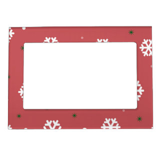 Red Snowflakes Magnetic Frame