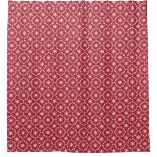 Red Snowflakes Pattern Christmas Shower Curtain
