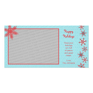 Red Snowflakes Photo Card Template