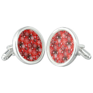 Red Snowflakes Retro Christmas Holiday Gift Cufflinks