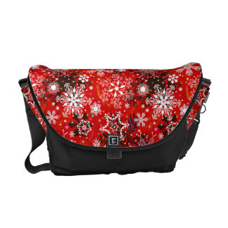 Red Snowflakes Retro Christmas Holiday Gift Messenger Bag