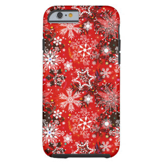 Red Snowflakes Retro Christmas Holiday Gift Tough iPhone 6 Case