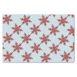 Red Snowflakes stripes on blue textured Tissue Tissue Paper
