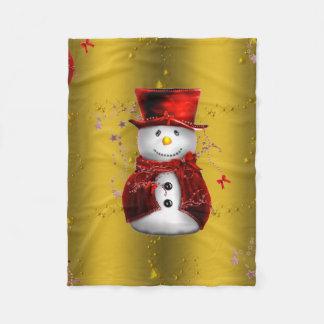 Red Snowman on Gold Christmas Fleece Blanket