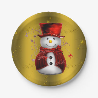 Red Snowman on Gold Christmas Paper Plate