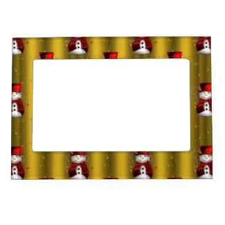 Red Snowmen on Gold Magnetic Frame