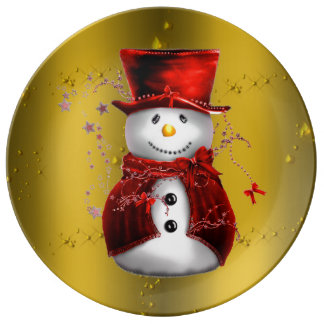 Red Snowmen on Gold Plate