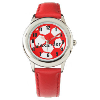 Red Soccer Ball and Name Watch