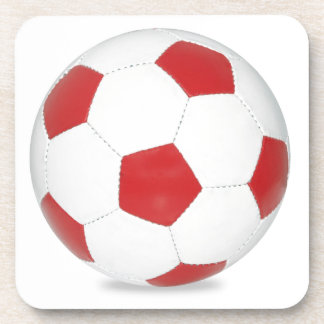Red Soccer Ball Beverage Coaster