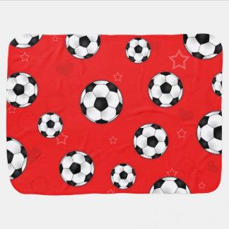 Red Soccer Ball Pattern Baby Blanket