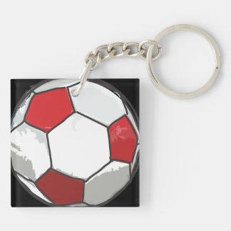 Red Soccer ball sketch Key Ring