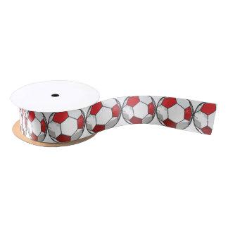 Red Soccer Ball Sketch Satin Ribbon