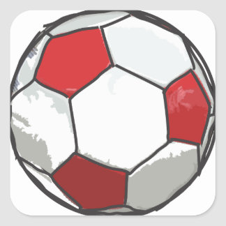 Red Soccer Ball Sketch Square Sticker