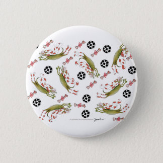 red soccer dog, bones balls 6 cm round badge
