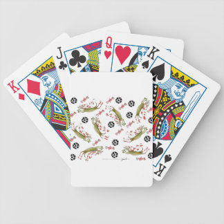 red soccer dog, bones balls bicycle playing cards