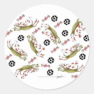red soccer dog, bones balls classic round sticker