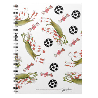 red soccer dog, bones balls notebook