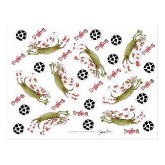 red soccer dog, bones balls postcard