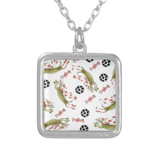 red soccer dog, bones balls silver plated necklace