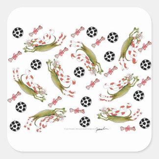 red soccer dog, bones balls square sticker