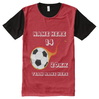 Red soccer shirt with player's name