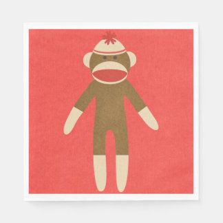 Red Sock Monkey Disposable Serviette