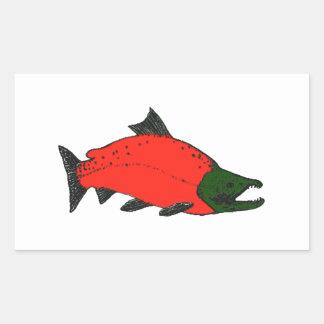 Red - Sockeye Salmon Art Rectangular Sticker
