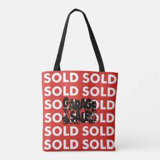 Red Sold Garage Sale Grocery Shopping Tote Bag