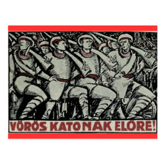 Red Soldiers Forward! 1919 Hungarian poster Postcard