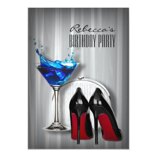 red sole stiletto martini girly birthday party card