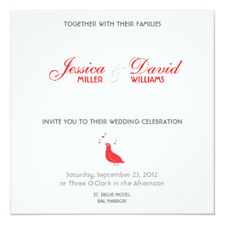 Red Songbird Modern Wedding Invite