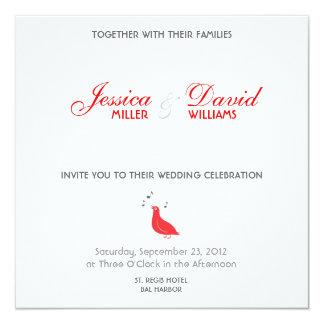 Red Songbird Modern Wedding Invite