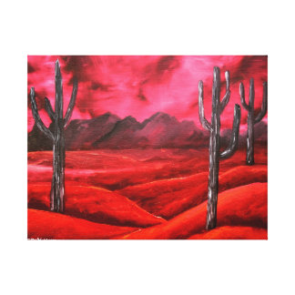 red southwestern abstract landscape painting canvas print