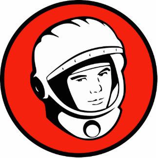 Red Soviet Cosmonaut Sculpture Standing Photo Sculpture