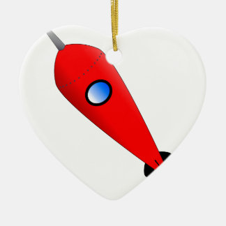 Red Space Rocket Ceramic Heart Decoration