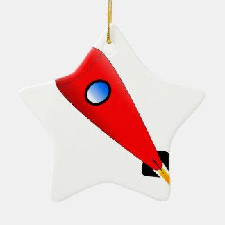 Red Space Rocket Ceramic Ornament