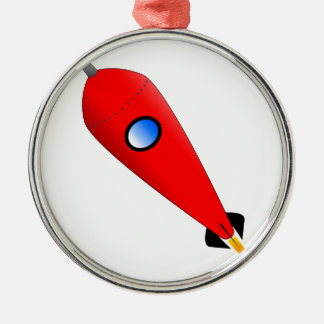 Red Space Rocket Metal Ornament