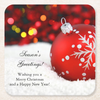 Red Sparkle Christmas Ornament Snow Square Paper Coaster
