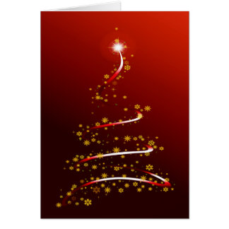 RED SPARKLE CHRISTMAS TREE CARD