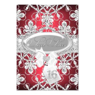 Red Sparkle Diamond Tiara Princess Sweet 16 Invite